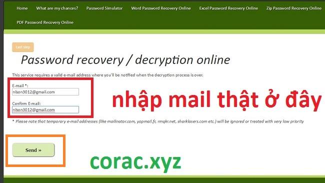 Mail xác nhận mật khẩu