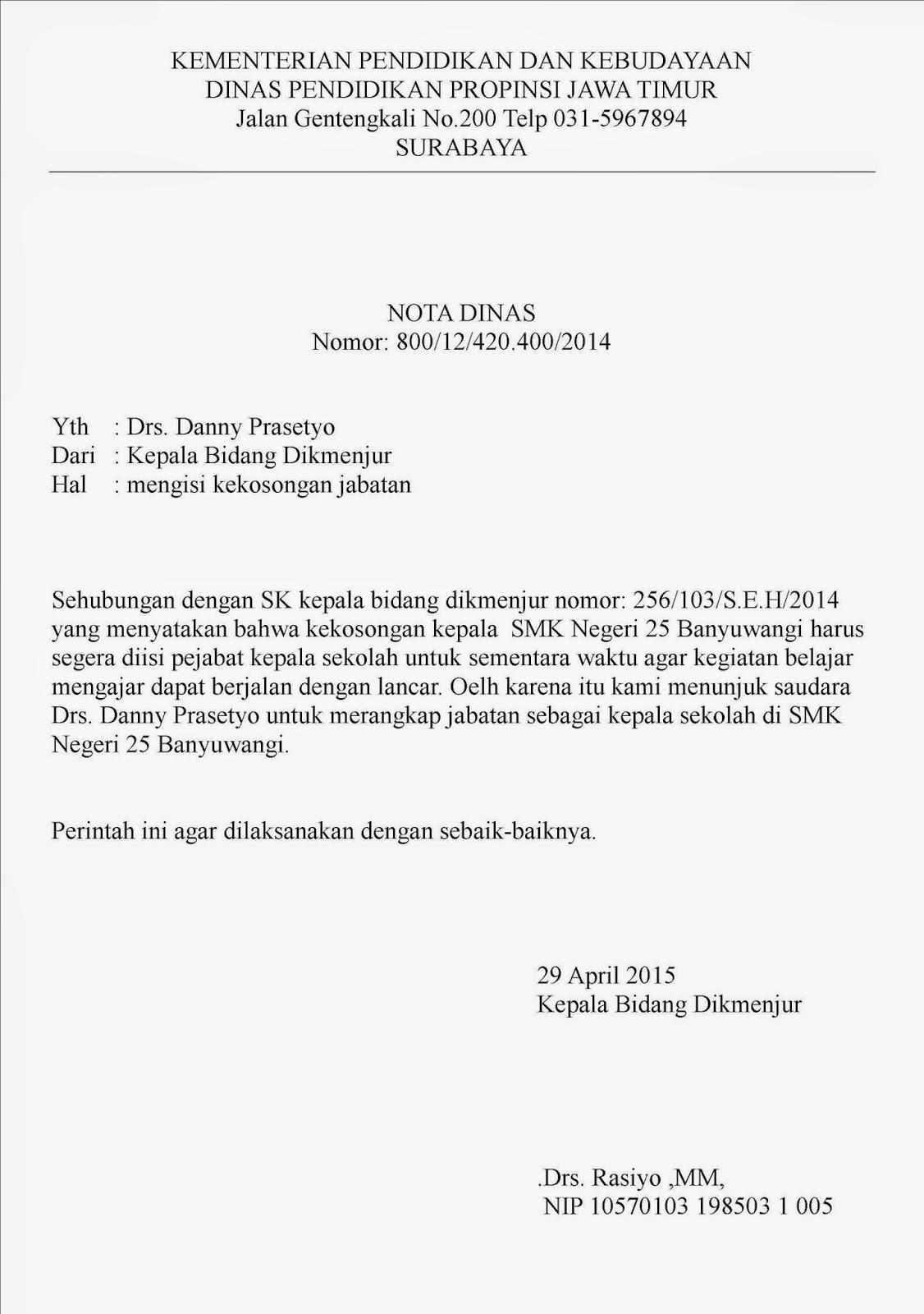 Contoh Surat Nota Dinas Informasi Seputar Dunia Militer