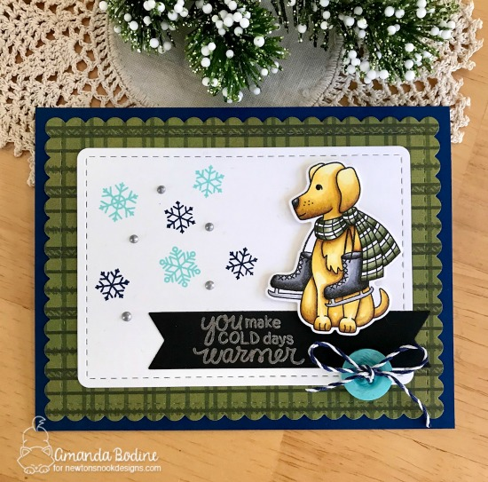 Winter Dog with Ice Skates | Card by Amanda Bodine | Winter Woofs Dog Stamp set and Frames & Flags Die Set by Newton's Nook Designs #newtonsnook