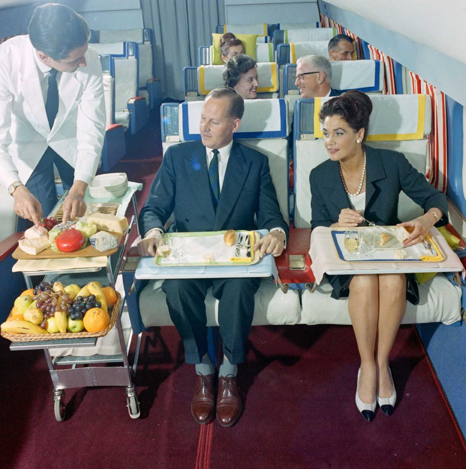 First class of Swissair in 1960s.
