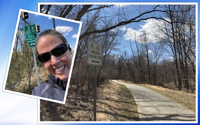 two photos, one a selfie of me in front of the sign for the trailhead and one of the trail itself.