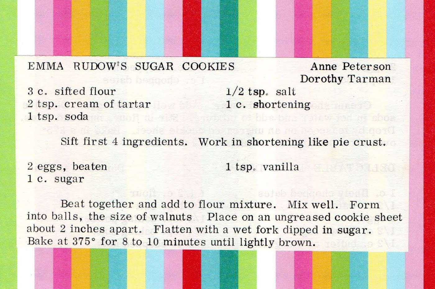 Emma Rudow's Sugar Cookies (quick recipe)