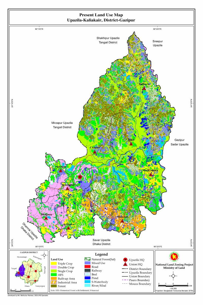 Kaliakair Upazila Mouza Map Gazipur District Bangladesh
