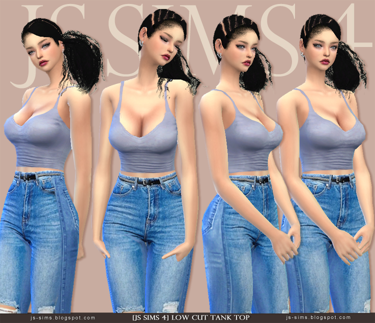 7bc8cfaf893 [JS SIMS 4] Low Cut Tank Top. Female - Teen to Adult / 3 colors .