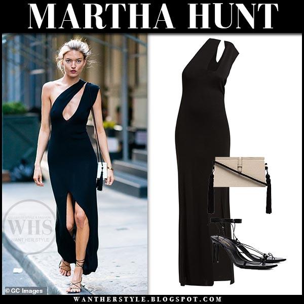 45cadf304769 Martha Hunt in black one shoulder front slit dress and black sandals.  Celebrity chic outfit