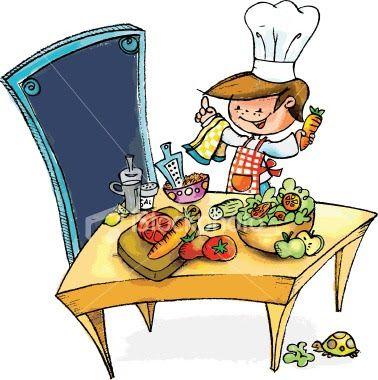 Caricatura de cocinero con sus implementos de cocina. Comida sobre la mesa y tortuga debajo comiendo una hoja de lechuga