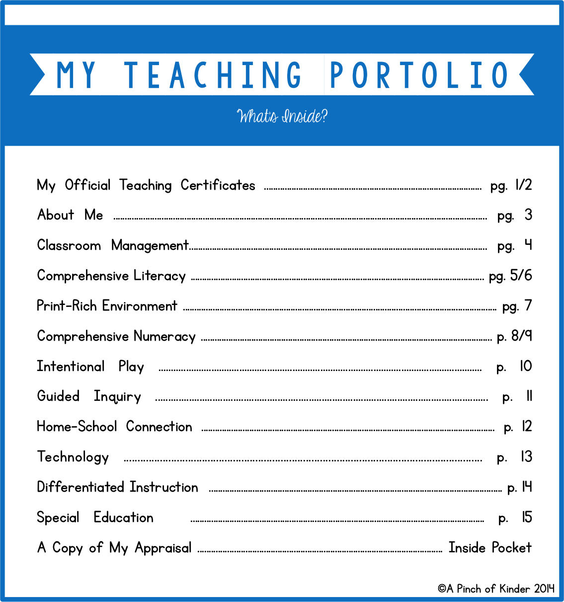 teaching portfolio template free august 2014 a pinch of kinder