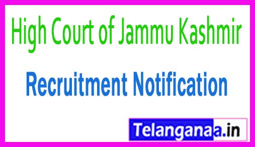 High Court of Jammu Kashmir JK High Court Recruitment Notification