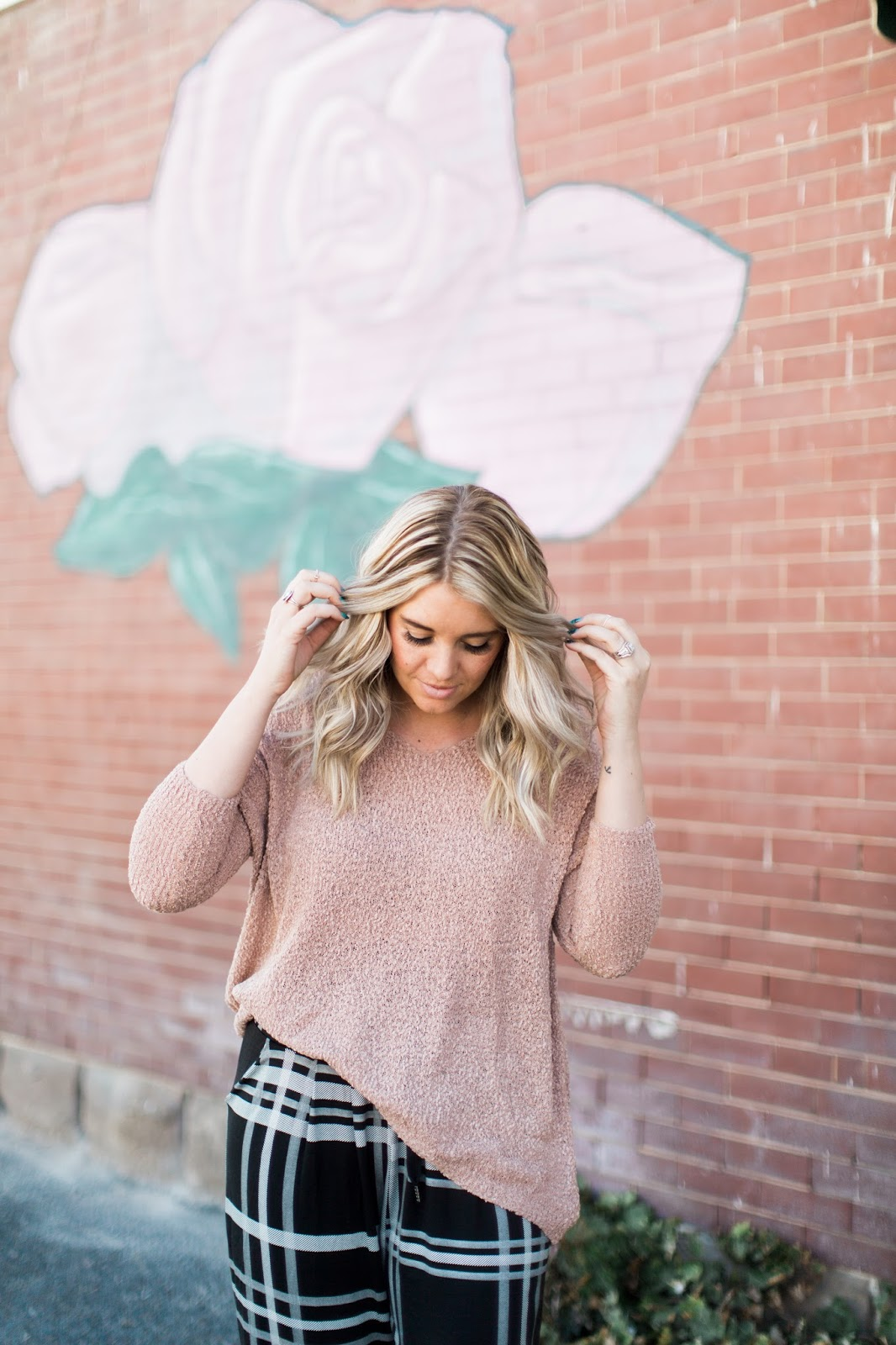 Rose Sweater, Goldies, Balayage Hair
