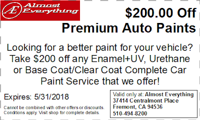 Discount Coupon $200 Off Premium Auto Paint Sale May 2018