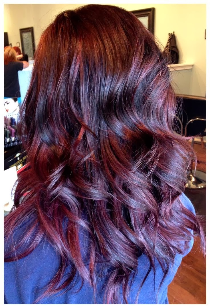 Dark Brown Hair Color With Burgundy Highlights Hair Color