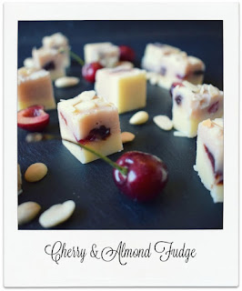 This delicious homemade fudge, with its two tone colour scheme, is flavoured with almond extract, toasted flaked almonds and cherries.  It is reminiscent of the classic Bakewell Tart, though in the form of fudge!.