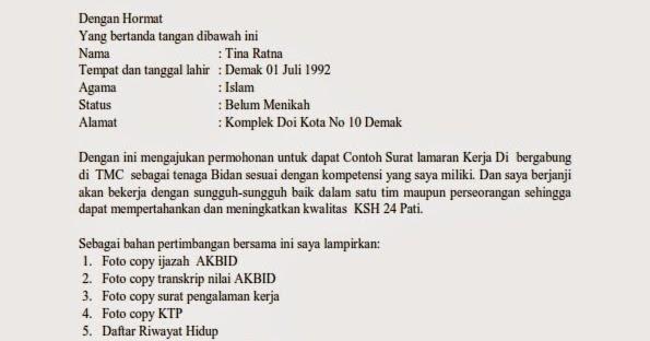 Contoh Cv Kebidanan Kabar Click