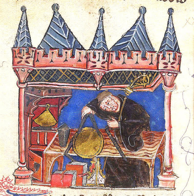 Dom Richard Wallingford (1292–1336), Abade de Saint-Albans trabalhando
