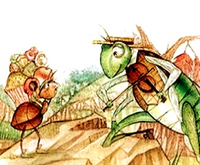 Cuento corto en inglés: The grasshopper and the ant