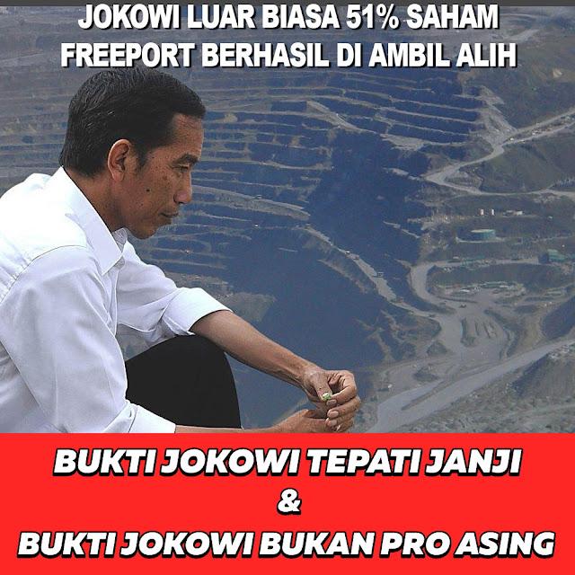 Jokowi Luar Biasa, 51% Saham Freeport Berhasil di Ambil Alih