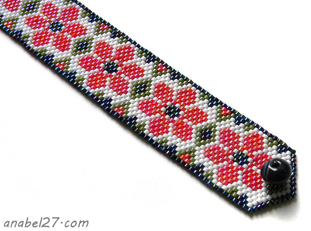 Peyote bracelet beadwork flower red beaded jewelry