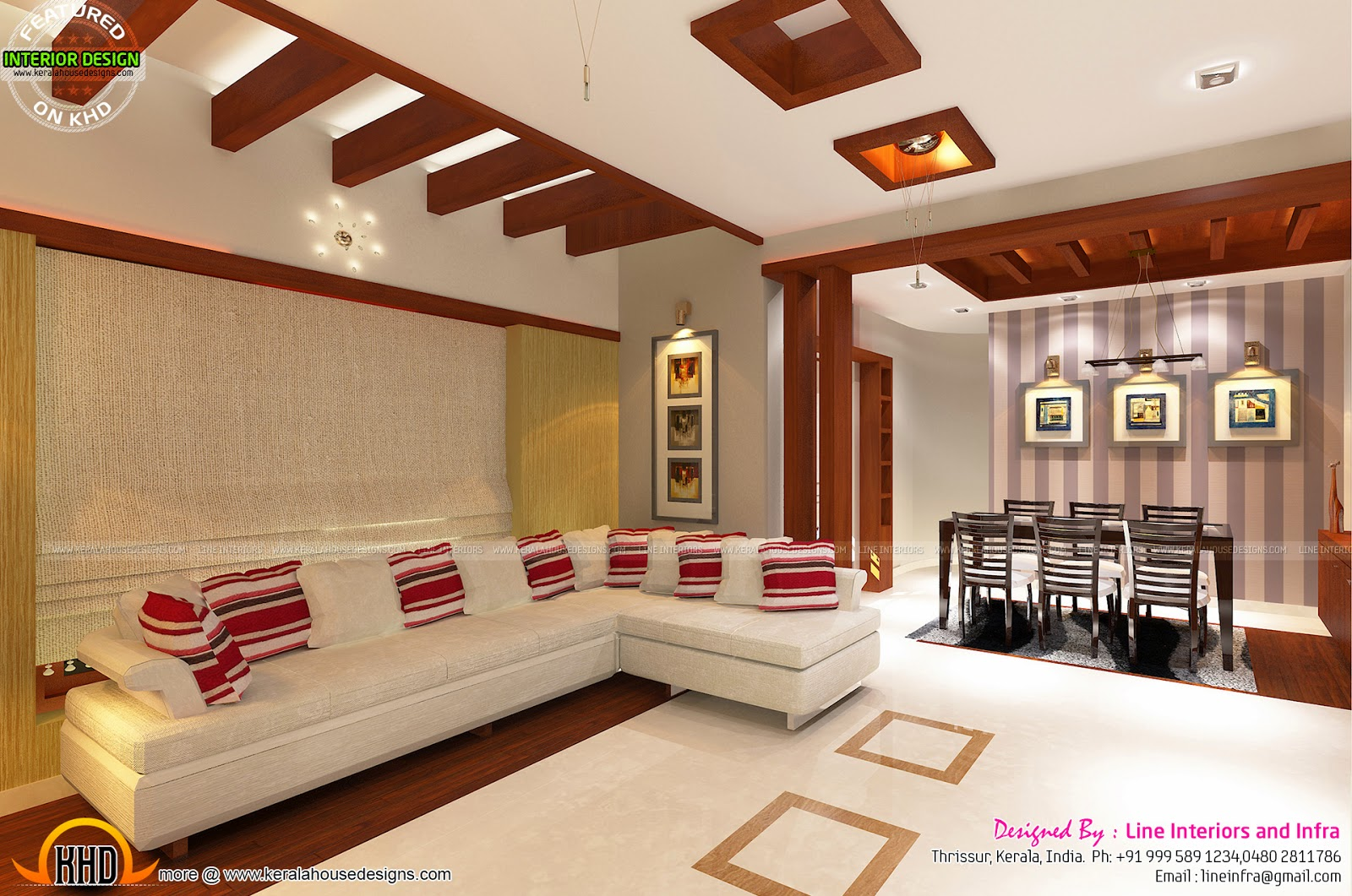 Kerala Home Front Elevation Design : Interiors design by line and infra kerala home