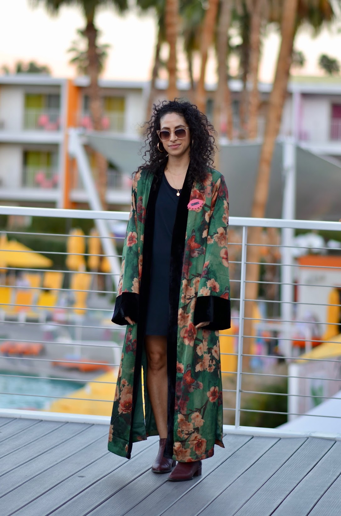 Zara maxi floral dress, Alt Summit conference in Palm Springs, Palm Springs, Arno chianti booties, The Saguaro hotel, what to wear in palm springs