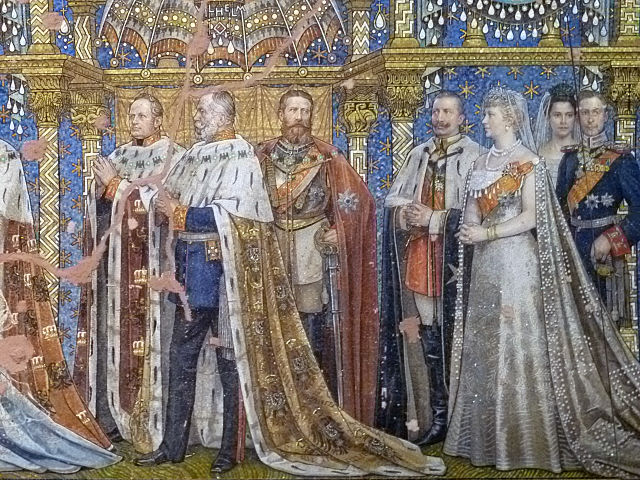 Mosaic of the Hohenzollern family with emperor Wilhelm and empress Augusta