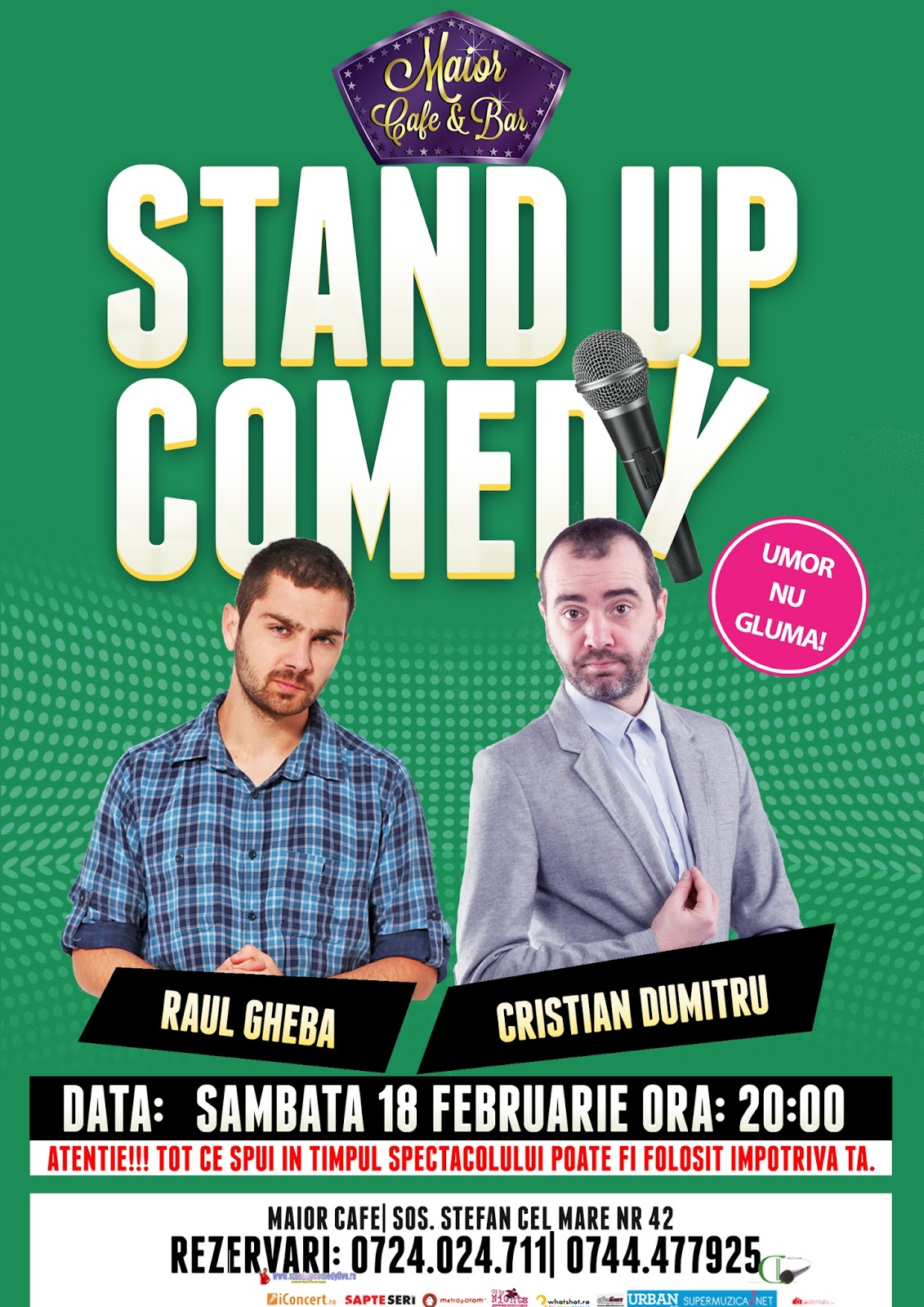 Stand-Up Comedy Bucuresti Sambata 18 Februarie | Maior Cafe