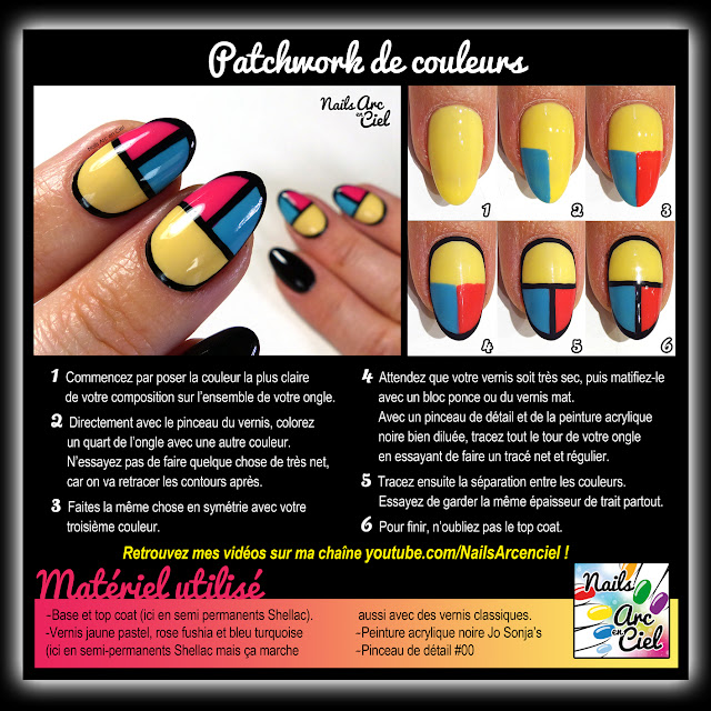 Tuto Nail Art - Patchwork de couleurs facile pour débutants par Nails Arc en Ciel