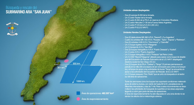 Image Attribute: On Nov. 19, the Argentine Navy released details about the rescue efforts and search area / Source: Armada de la República Argentina