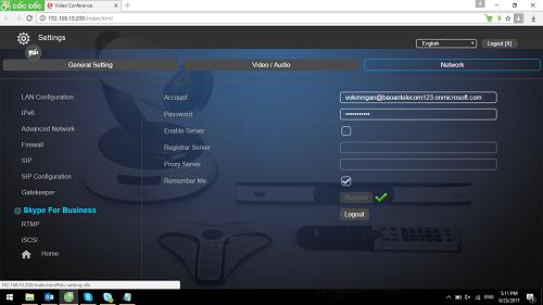 Hướng dẫn thực hiện kết nối Skype for Business với thiết bị AVer