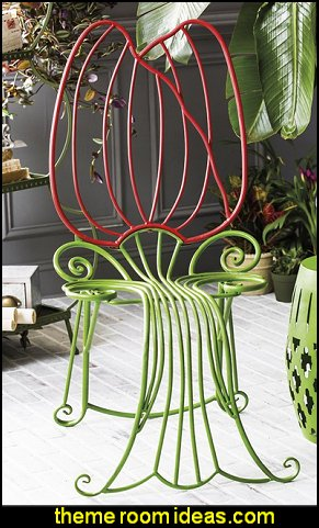 Red and Green Metal Tulip Garden Chair