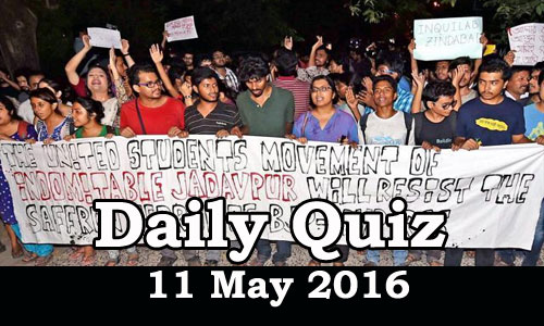 Daily Current Affairs Quiz - 11 May 2016