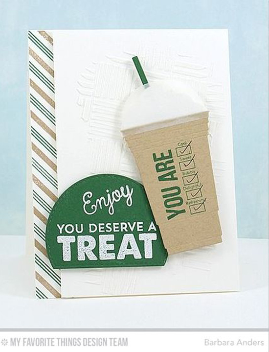 Handmade card from Barbara Anders featuring Laina Lamb Design Stay Cool stamp set and Cool Cup Die-namics, Candy Stripes Background Builder stamp, and Stitched Arch STAX Die-namics #mftstamps