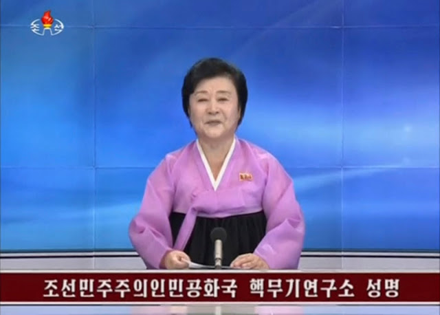 KRT newscaster confirming that North Korea has conducted a nuclear test in this still image taken from video on September 9, 2016.    KRT/via Reuters
