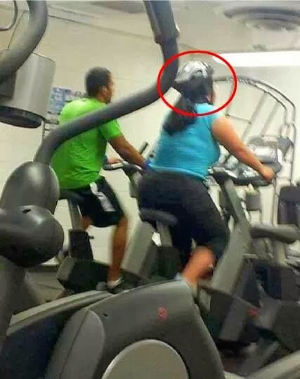 Funny Gym Woman Cyclist Helmet Joke Picture