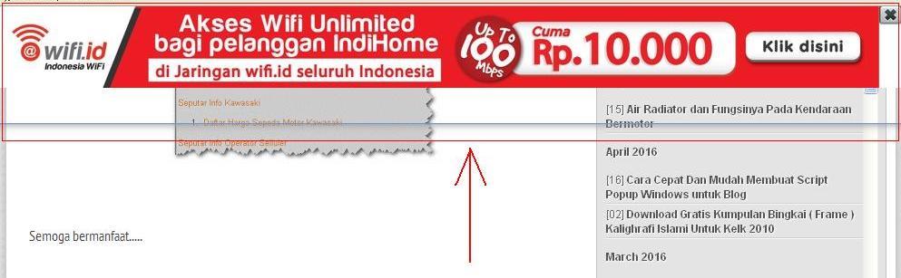 Cara menghapus iklan cfs.u-ad.info Telkom Speedy