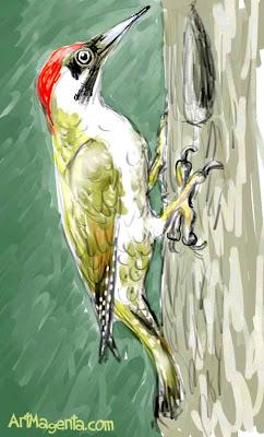 Gröngöling är en fågelmålning av ArtMagenta.