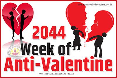2044 Anti-Valentine Week List, 2044 Slap Day, Kick Day, Breakup Day Date Calendar