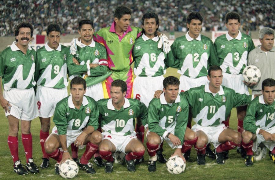 Formación de México ante Chile, amistoso disputado el 29 de marzo de 1995