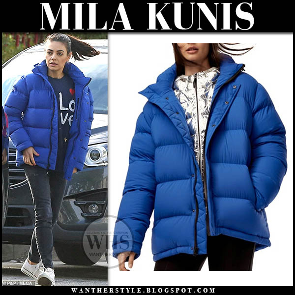Mila Kunis in blue puffer tna jacket, jeans and converse sneakers hollywood street style february 1