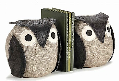 owl bookends, sand weighted