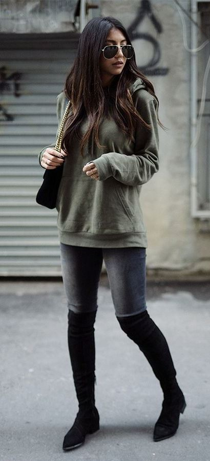 ootd | sweatshirt + skinny jeans + over knee boots