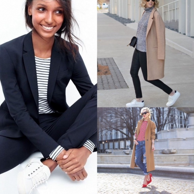 Looks that inspire me to add stripes or colour to my winter wardrobe.