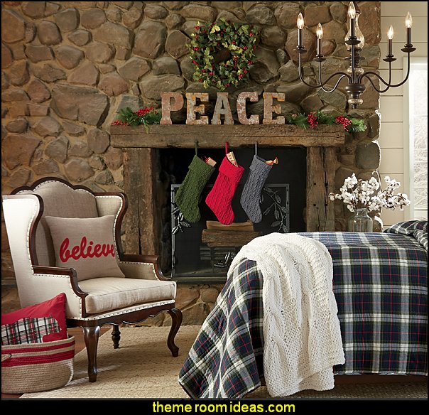 rustic decorating christmas theme bedrooms