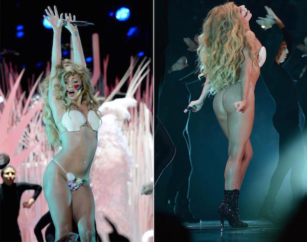 This is how she performed in VMA, she is almost wearing nothing but still a seashell bikini in Brooklyn, N.Y.