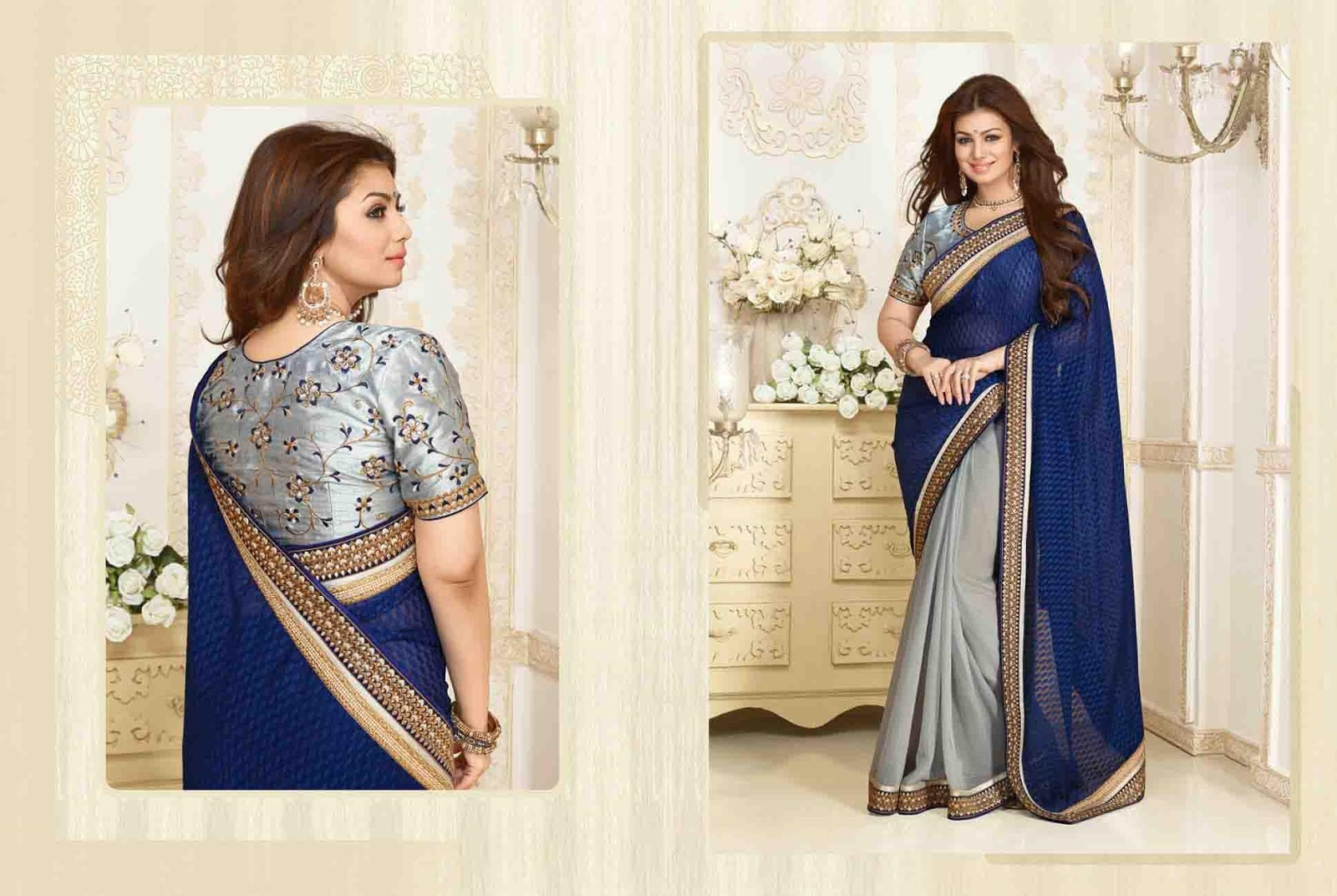 Grey & Blue Brasso Party Wear Saree With Raw Silk Blouse