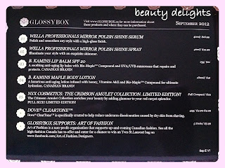 Beauty Delights Glossybox September 2012