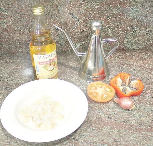 Ingredientes esqueixada de bacallà (bacalao)