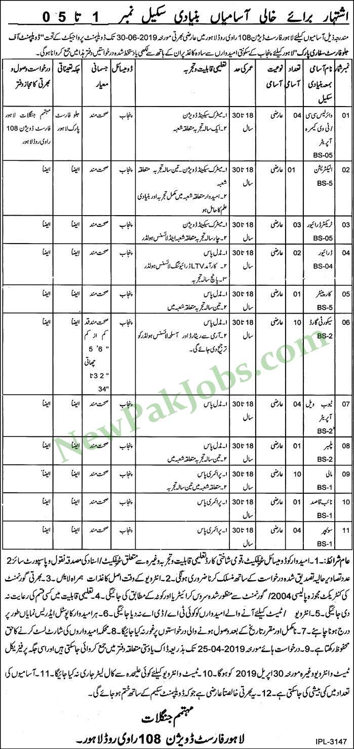 Lahore Forest Division 108 Ravi Lahore Today Jobs 06 April 2019
