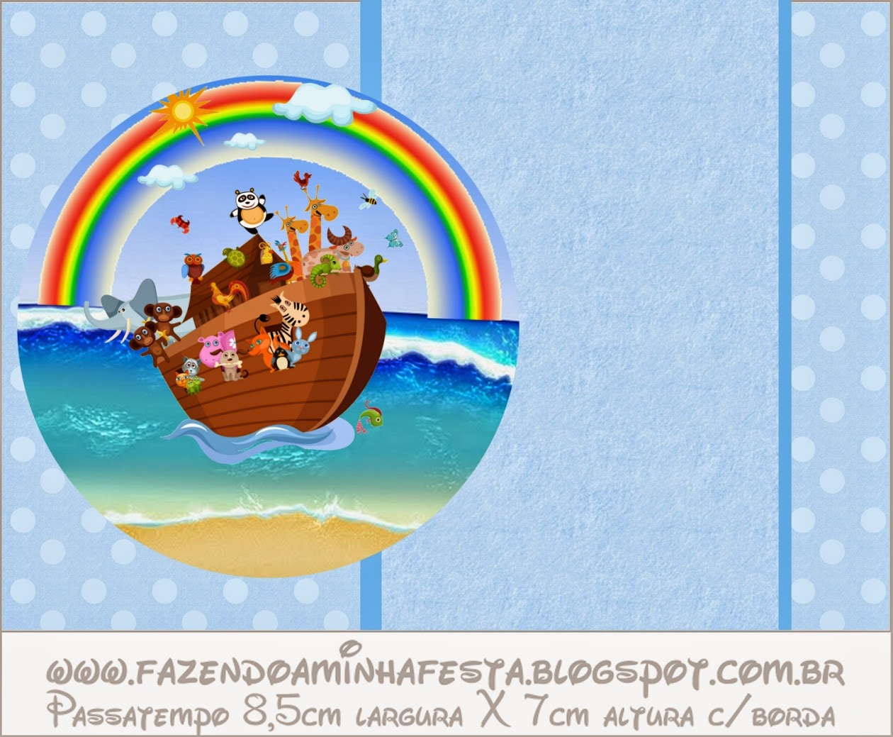 Noah's Ark in Light Blue  Free Printable Invitations.