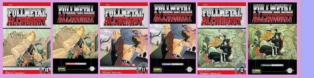 portadas de los tomos 10, 11 y 12 de Fullmetal alchemist