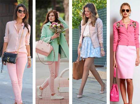 Looks suaves construídos com a cor rosa quartzo. Mistura com cores neutras, tons pastel e outros tons de rosa.